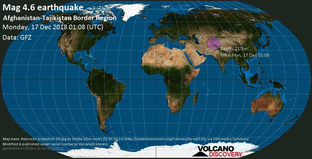Light mag. 4.6 earthquake  - Afghanistan-Tajikistan Border Region on Monday, 17 December 2018