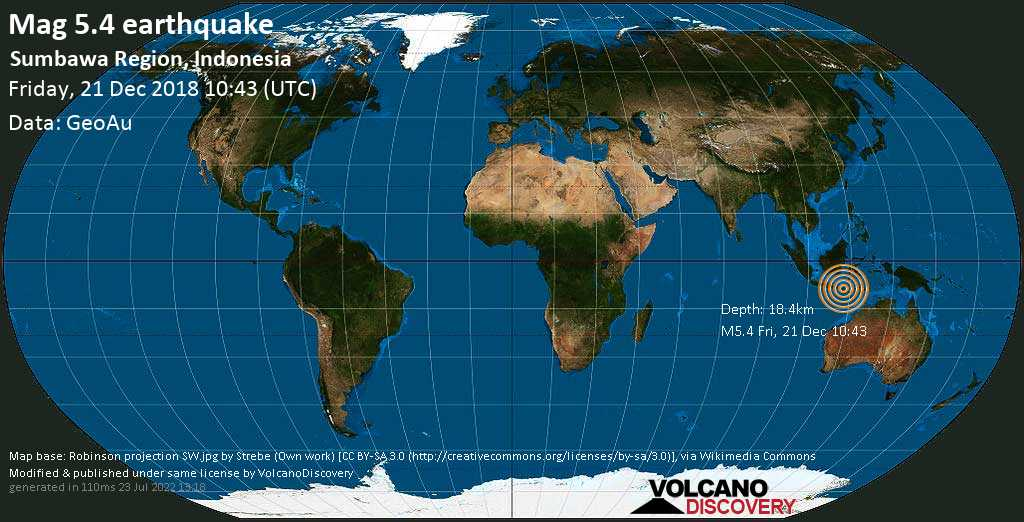 Moderate mag. 5.4 earthquake  - Sumbawa Region, Indonesia on Friday, 21 December 2018