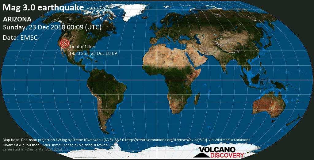 Minor mag. 3.0 earthquake  - ARIZONA on Sunday, 23 December 2018