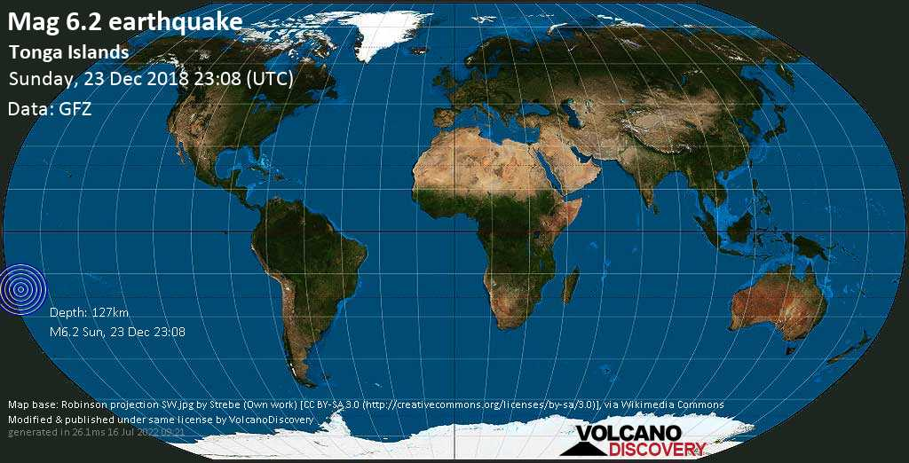 Strong mag. 6.2 earthquake  - Tonga Islands on Sunday, 23 December 2018