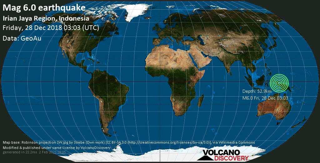 Strong mag. 6.0 earthquake  - Irian Jaya Region, Indonesia on Friday, 28 December 2018