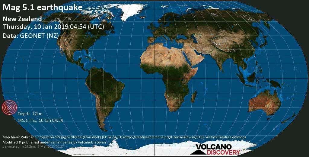 Moderate mag. 5.1 earthquake  - New Zealand on Thursday, 10 January 2019