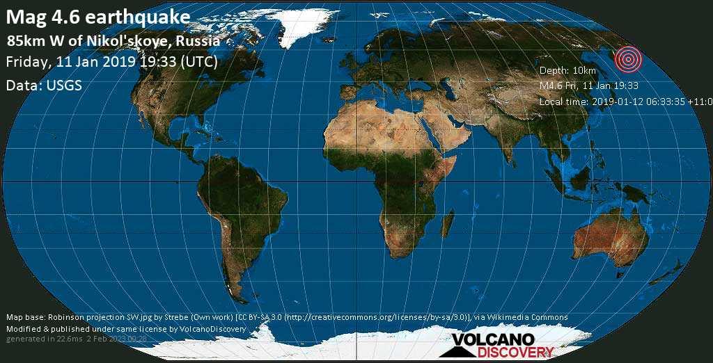 Light mag. 4.6 earthquake  - 85km W of Nikol\'skoye, Russia on Friday, 11 January 2019