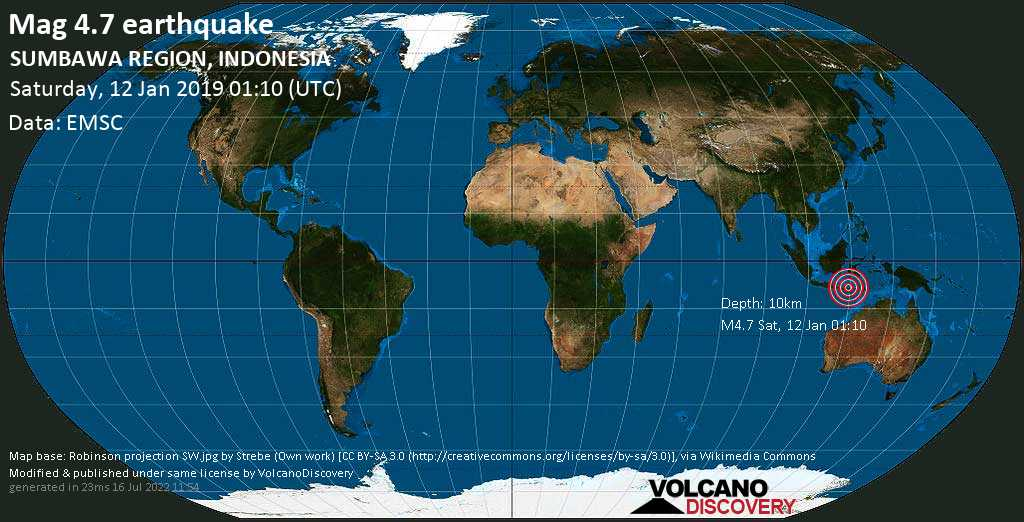 Light mag. 4.7 earthquake  - SUMBAWA REGION, INDONESIA on Saturday, 12 January 2019