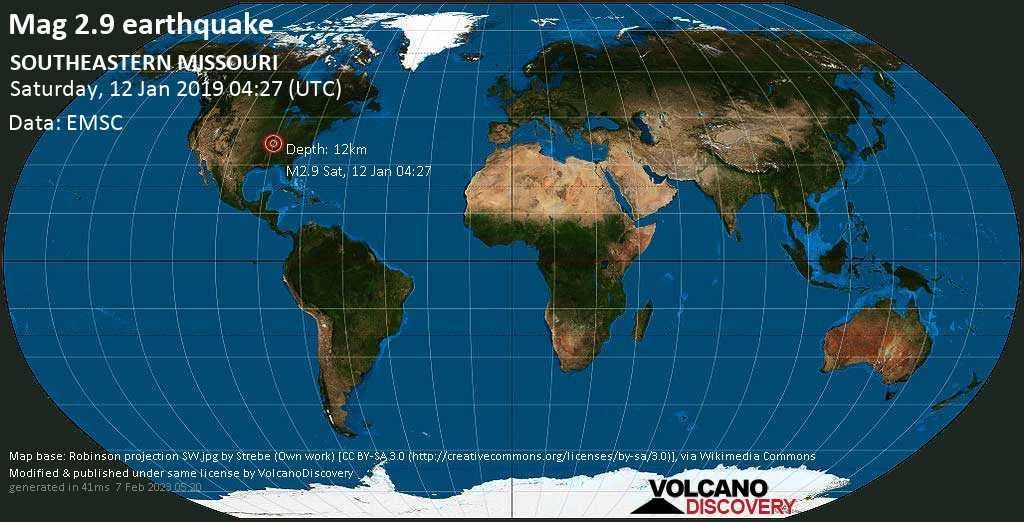 Minor mag. 2.9 earthquake  - SOUTHEASTERN MISSOURI on Saturday, 12 January 2019