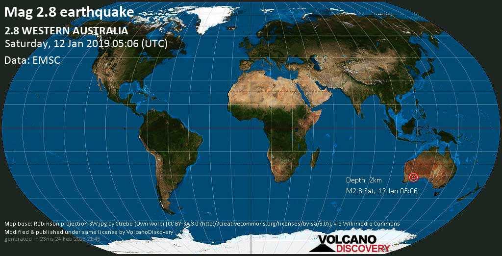Minor mag. 2.8 earthquake  - 2.8  WESTERN AUSTRALIA on Saturday, 12 January 2019