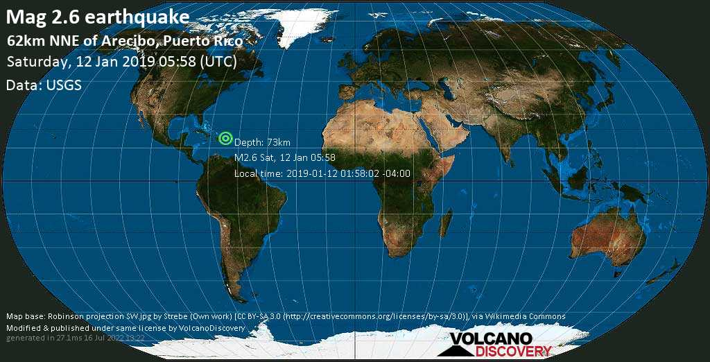 Minor mag. 2.6 earthquake  - 62km NNE of Arecibo, Puerto Rico on Saturday, 12 January 2019