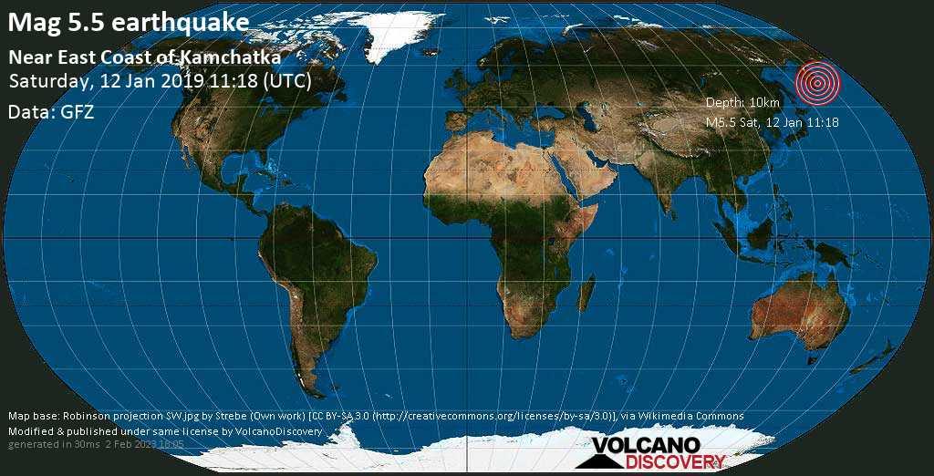 Moderate mag. 5.5 earthquake  - Near East Coast of Kamchatka on Saturday, 12 January 2019