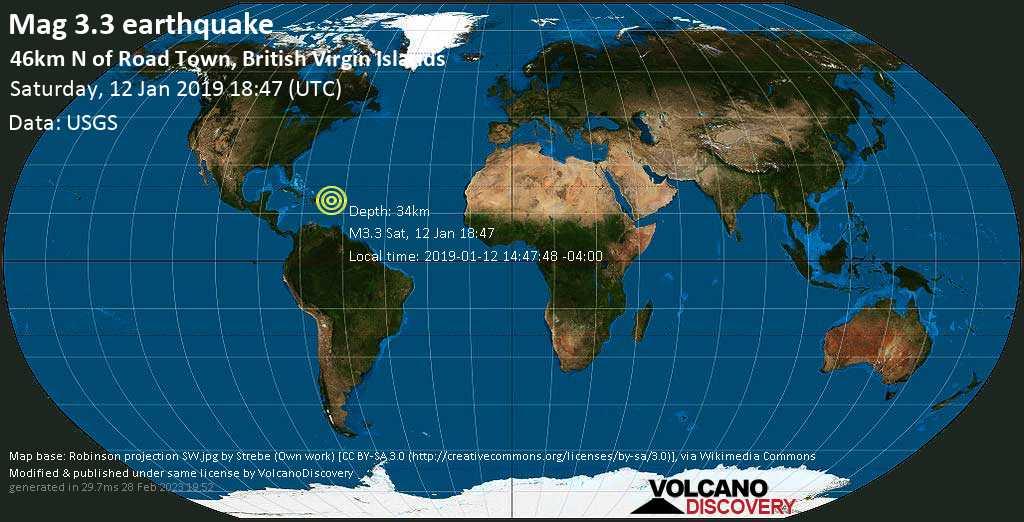 Minor mag. 3.3 earthquake  - 46km N of Road Town, British Virgin Islands on Saturday, 12 January 2019