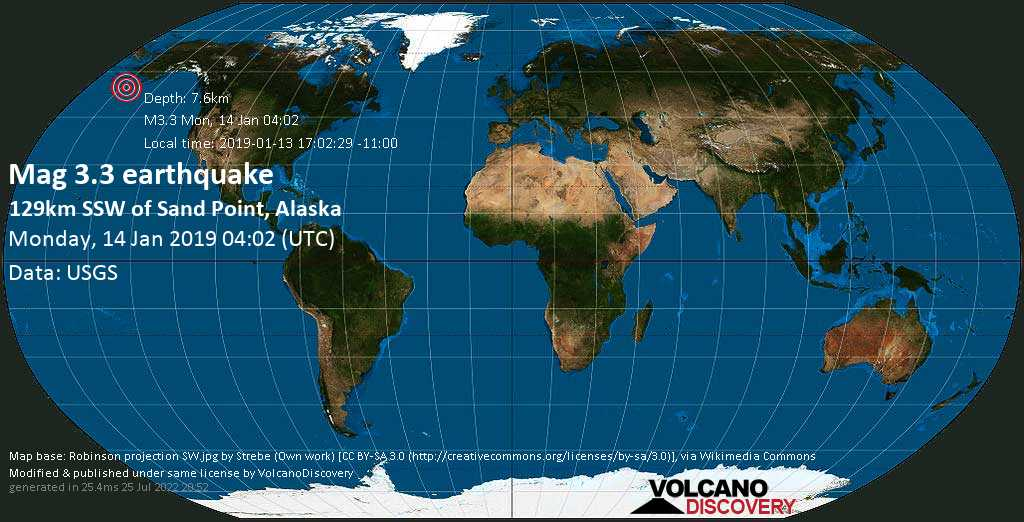 Minor mag. 3.3 earthquake  - 129km SSW of Sand Point, Alaska on Monday, 14 January 2019