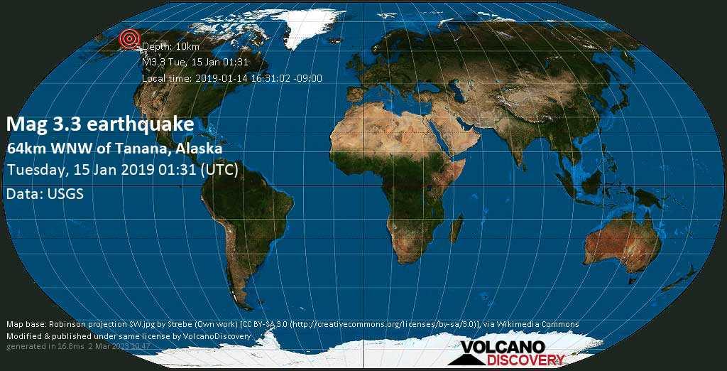 Minor mag. 3.3 earthquake  - 64km WNW of Tanana, Alaska on Tuesday, 15 January 2019
