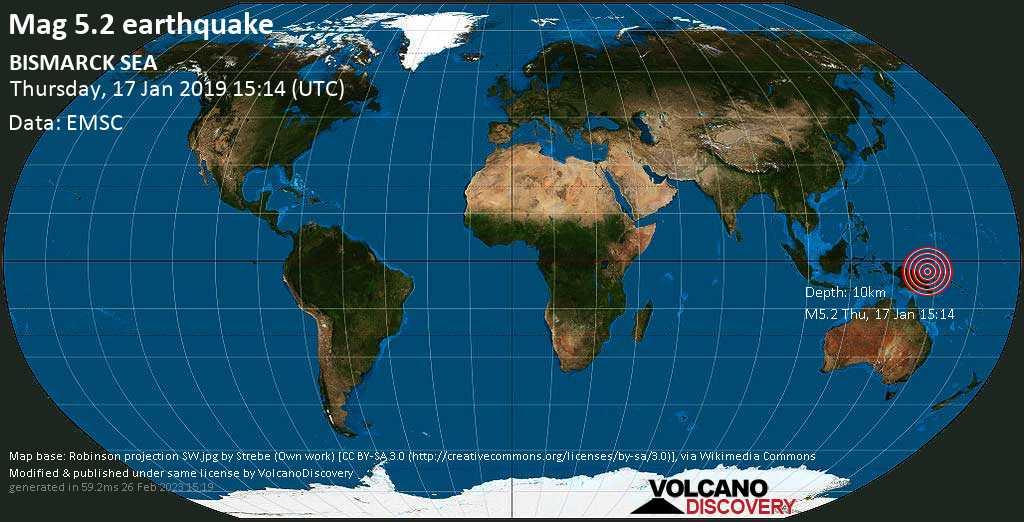 Moderate mag. 5.2 earthquake  - BISMARCK SEA on Thursday, 17 January 2019