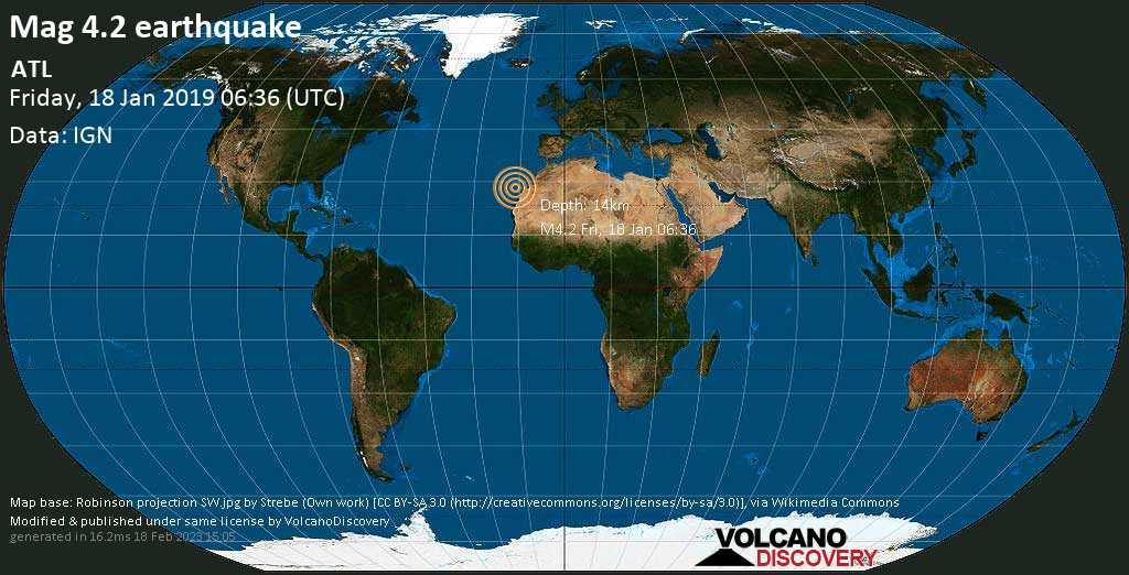 Light mag. 4.2 earthquake  - ATL on Friday, 18 January 2019