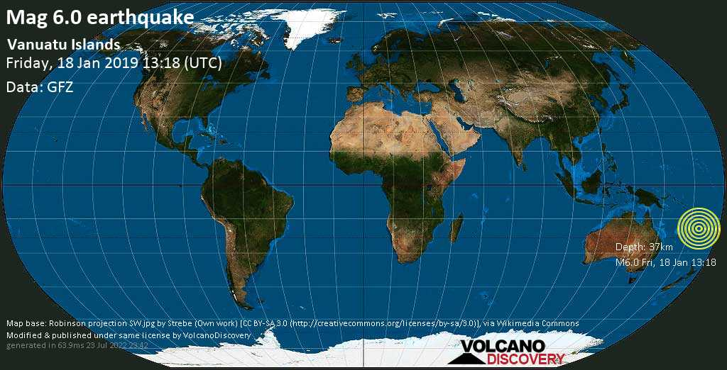 Strong mag. 6.0 earthquake  - Vanuatu Islands on Friday, 18 January 2019