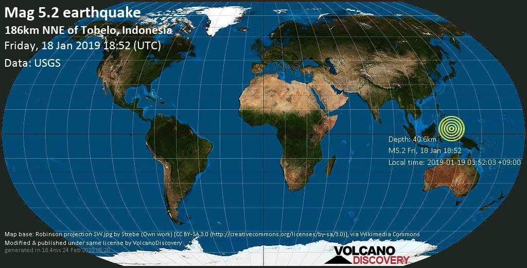 Moderate mag. 5.2 earthquake  - 186km NNE of Tobelo, Indonesia on Friday, 18 January 2019