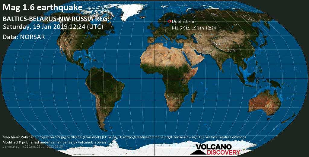 Minor mag. 1.6 earthquake  - BALTICS-BELARUS-NW RUSSIA REG. on Saturday, 19 January 2019