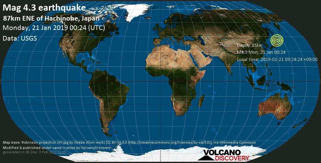 Light mag. 4.3 earthquake  - 87km ENE of Hachinohe, Japan on Monday, 21 January 2019