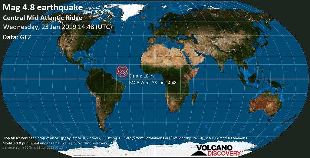 Light mag. 4.8 earthquake  - Central Mid Atlantic Ridge on Wednesday, 23 January 2019