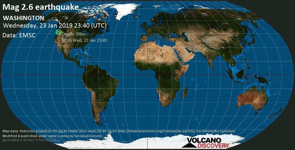Minor mag. 2.6 earthquake  - WASHINGTON on Wednesday, 23 January 2019
