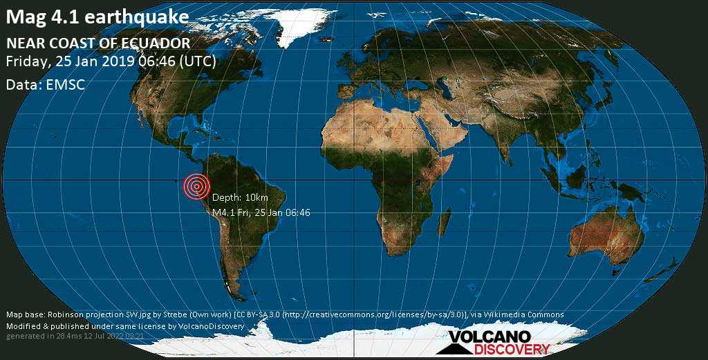 Light mag. 4.1 earthquake  - NEAR COAST OF ECUADOR on Friday, 25 January 2019