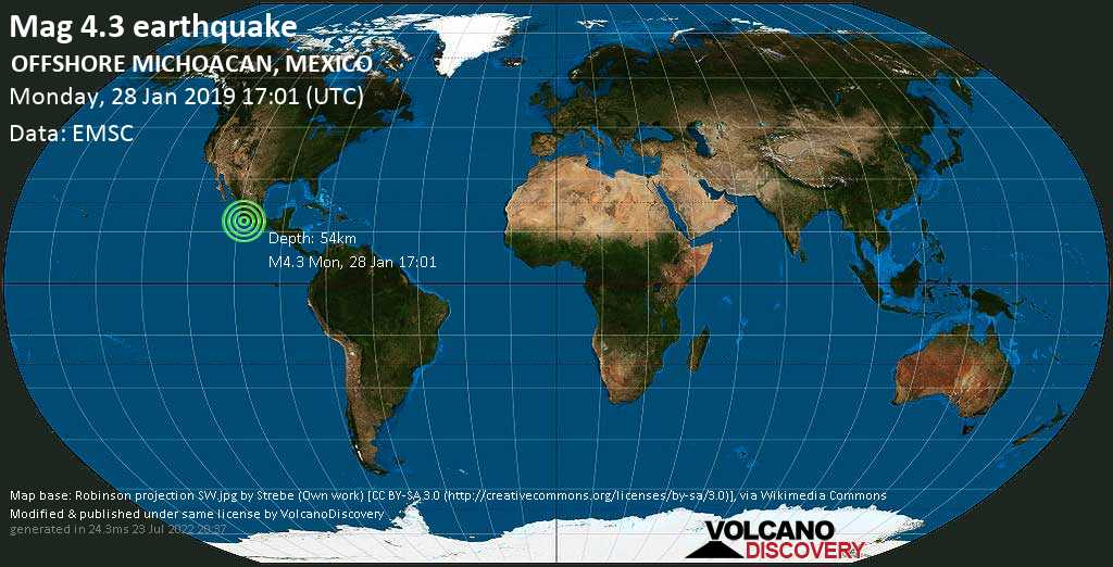 Light mag. 4.3 earthquake  - OFFSHORE MICHOACAN, MEXICO on Monday, 28 January 2019