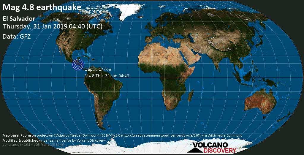 Light mag. 4.8 earthquake  - El Salvador on Thursday, 31 January 2019
