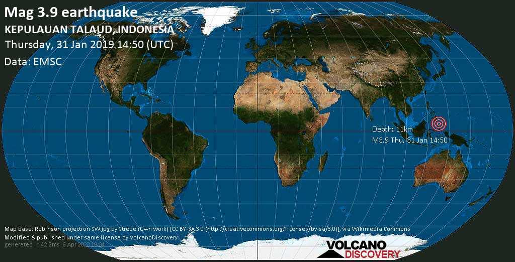 Minor mag. 3.9 earthquake  - KEPULAUAN TALAUD, INDONESIA on Thursday, 31 January 2019