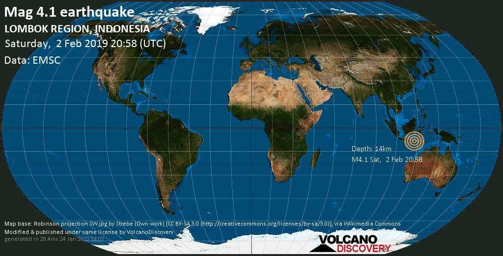 Light mag. 4.1 earthquake  - LOMBOK REGION, INDONESIA on Saturday, 2 February 2019