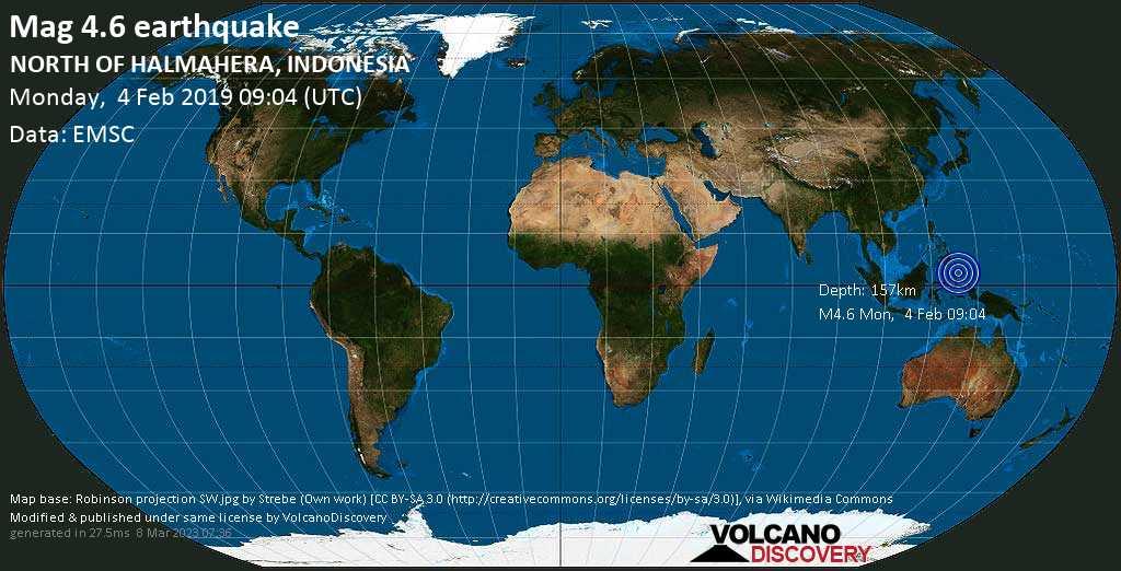 Light mag. 4.6 earthquake  - NORTH OF HALMAHERA, INDONESIA on Monday, 4 February 2019