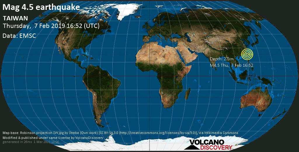 Light mag. 4.5 earthquake  - TAIWAN on Thursday, 7 February 2019