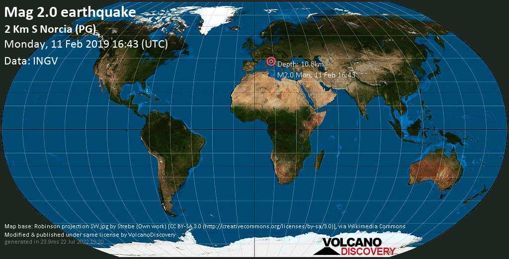 Minor mag. 2.0 earthquake  - 2 km S Norcia (PG) on Monday, 11 February 2019