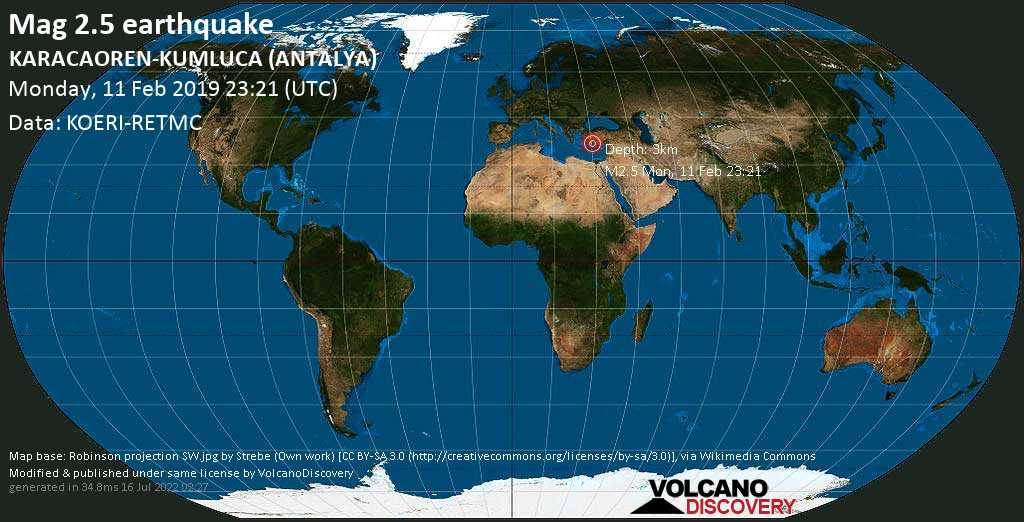 Minor mag. 2.5 earthquake  - KARACAOREN-KUMLUCA (ANTALYA) on Monday, 11 February 2019