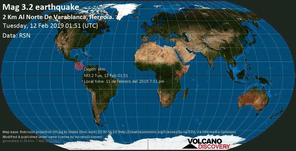 Minor mag. 3.2 earthquake  - 2 km al Norte de Varablanca, Heredia. on Tuesday, 12 February 2019