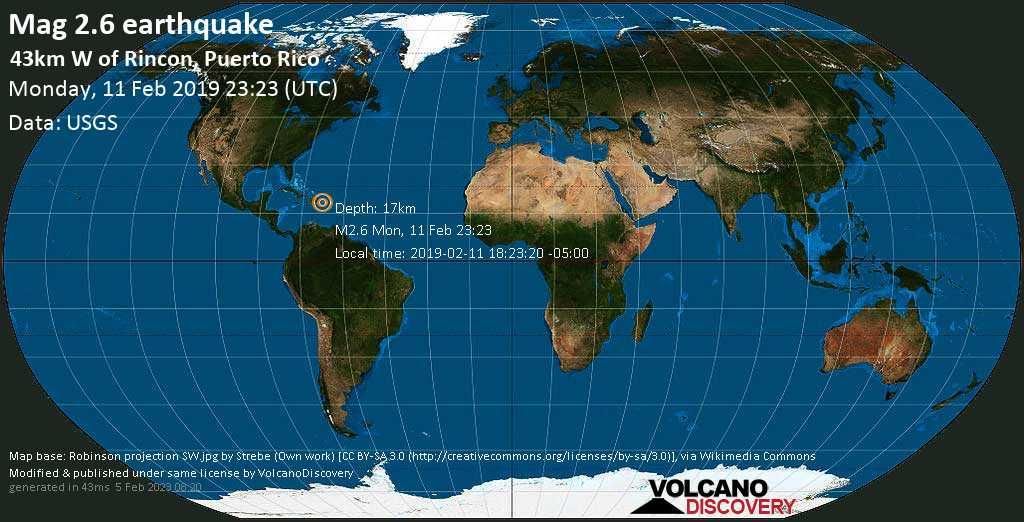 Minor mag. 2.6 earthquake  - 43km W of Rincon, Puerto Rico on Monday, 11 February 2019