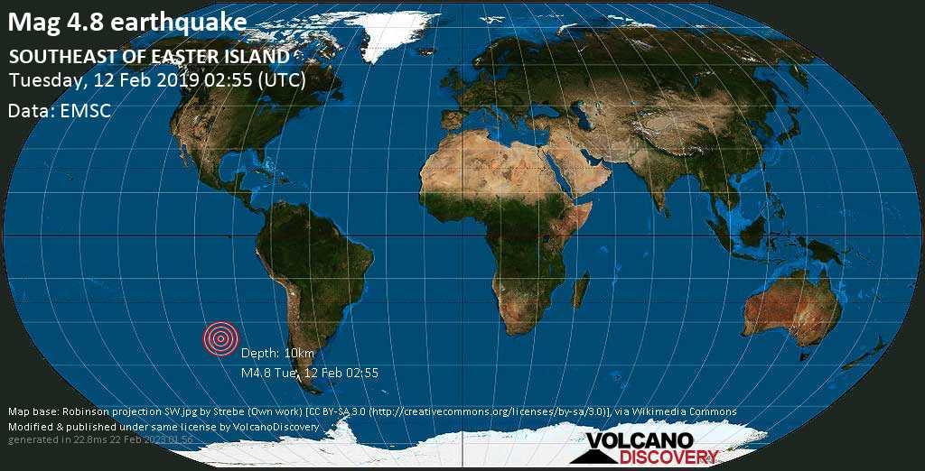 Light mag. 4.8 earthquake  - SOUTHEAST OF EASTER ISLAND on Tuesday, 12 February 2019