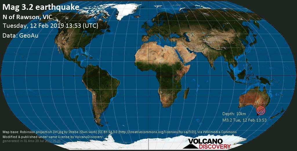 Minor mag. 3.2 earthquake  - N of Rawson, VIC on Tuesday, 12 February 2019