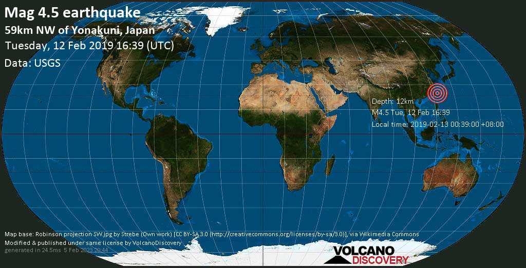 Light mag. 4.5 earthquake  - 59km NW of Yonakuni, Japan on Tuesday, 12 February 2019