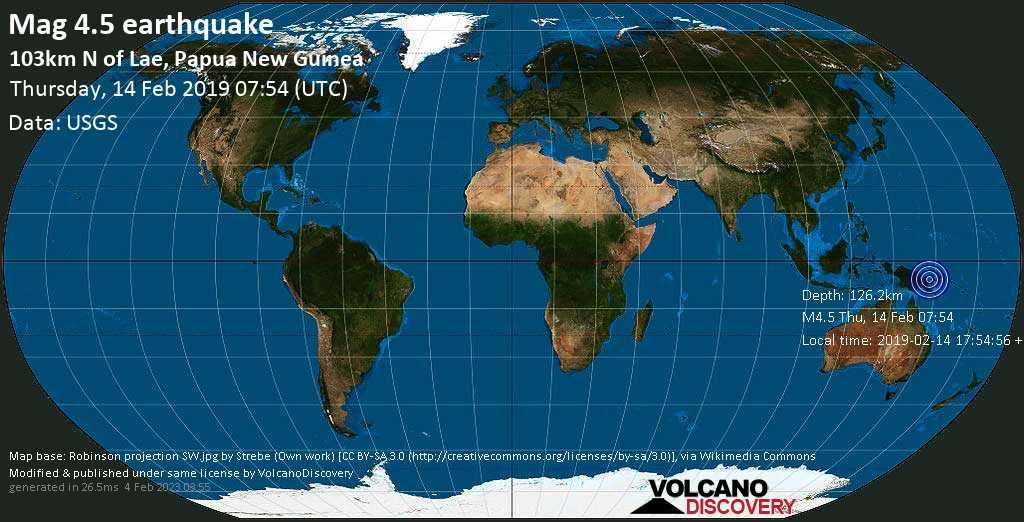 Light mag. 4.5 earthquake  - 103km N of Lae, Papua New Guinea on Thursday, 14 February 2019