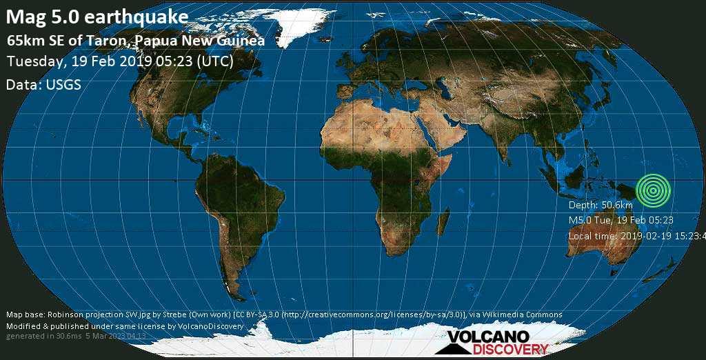 Moderate mag. 5.0 earthquake  - 65km SE of Taron, Papua New Guinea on Tuesday, 19 February 2019