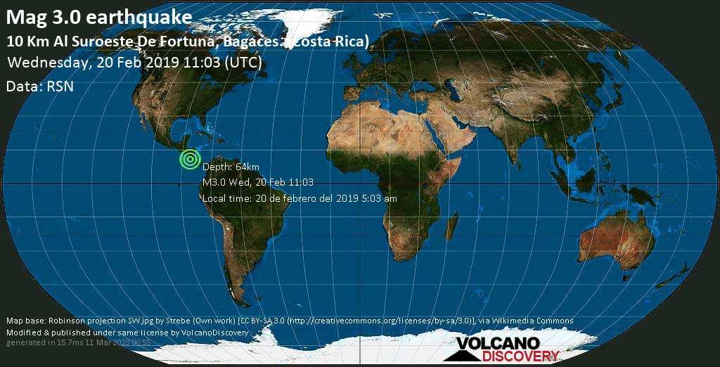 Minor mag. 3.0 earthquake  - 10 km al Suroeste de Fortuna, Bagaces. (Costa Rica) on Wednesday, 20 February 2019