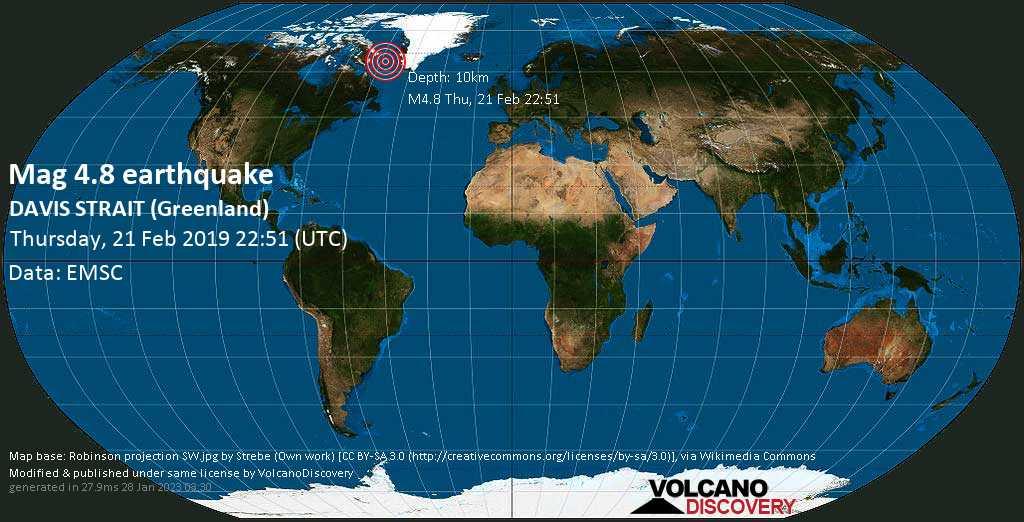 Light mag. 4.8 earthquake  - DAVIS STRAIT (Greenland) on Thursday, 21 February 2019