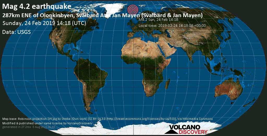 Light mag. 4.2 earthquake  - 287km ENE of Olonkinbyen, Svalbard and Jan Mayen (Svalbard & Jan Mayen) on Sunday, 24 February 2019