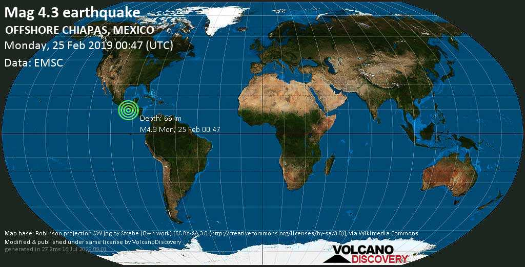 Light mag. 4.3 earthquake  - OFFSHORE CHIAPAS, MEXICO on Monday, 25 February 2019