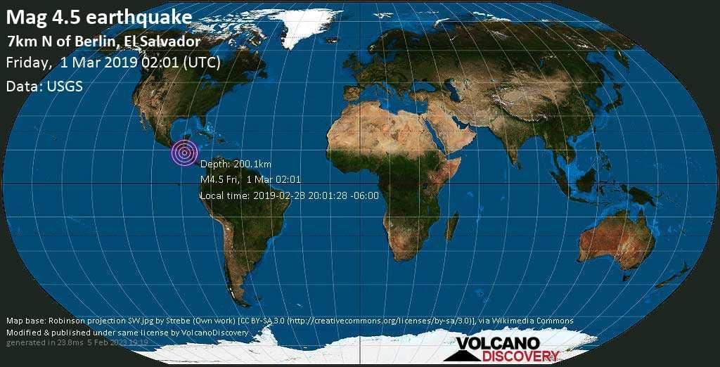 Light mag. 4.5 earthquake  - 7km N of Berlin, El Salvador on Friday, 1 March 2019