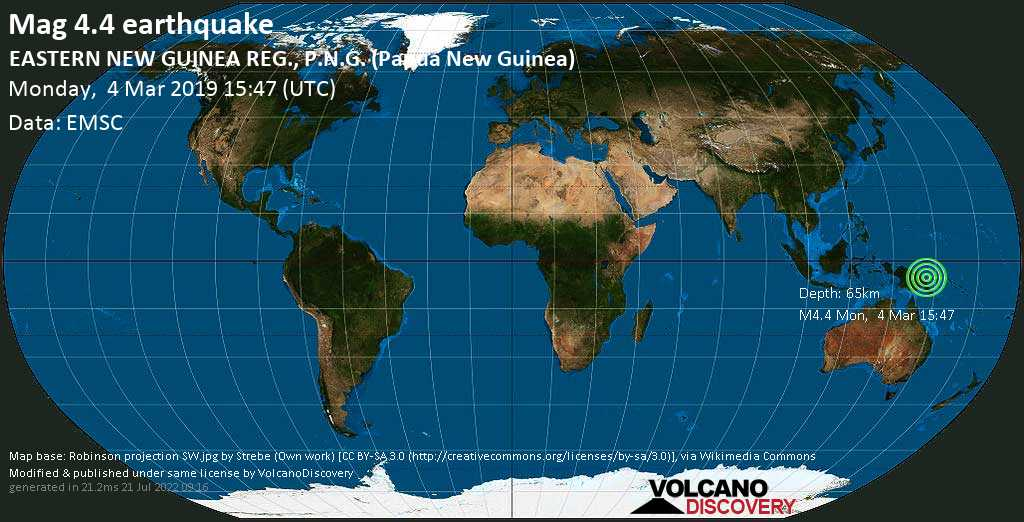 Light mag. 4.4 earthquake  - EASTERN NEW GUINEA REG., P.N.G. (Papua New Guinea) on Monday, 4 March 2019