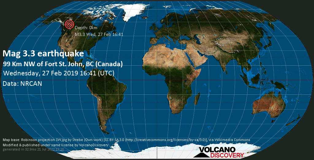 Minor mag. 3.3 earthquake  - 99 km NW of Fort St. John, BC (Canada) on Wednesday, 27 February 2019