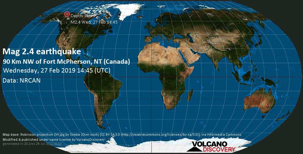 Minor mag. 2.4 earthquake  - 90 km NW of Fort McPherson, NT (Canada) on Wednesday, 27 February 2019