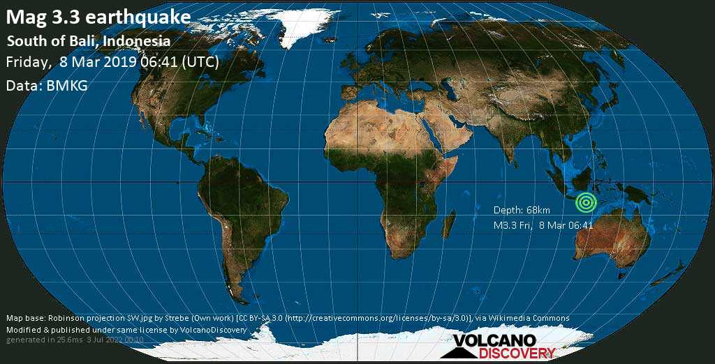 Minor mag. 3.3 earthquake  - South of Bali, Indonesia on Friday, 8 March 2019
