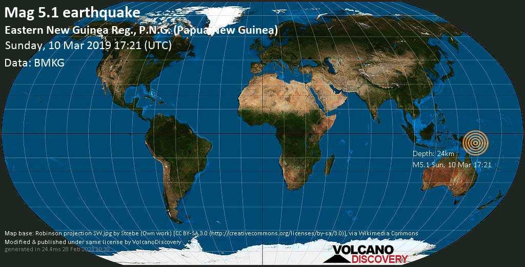 Moderate mag. 5.1 earthquake  - Eastern New Guinea Reg., P.N.G. (Papua New Guinea) on Sunday, 10 March 2019