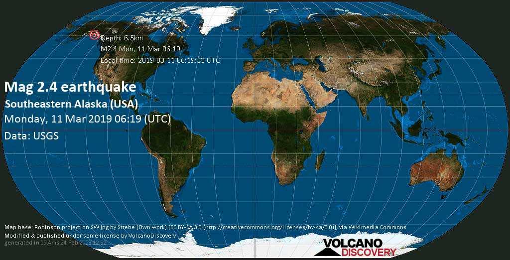 Minor mag. 2.4 earthquake  - Southeastern Alaska (USA) on Monday, 11 March 2019